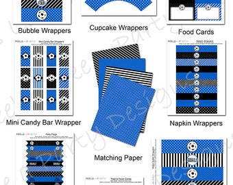 Blue Soccer Party Pack - Printable - Instant Download