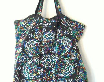 multicolored tote bag- black fiber bag with plastic dots- 60s bag- mid century - modern tote bag