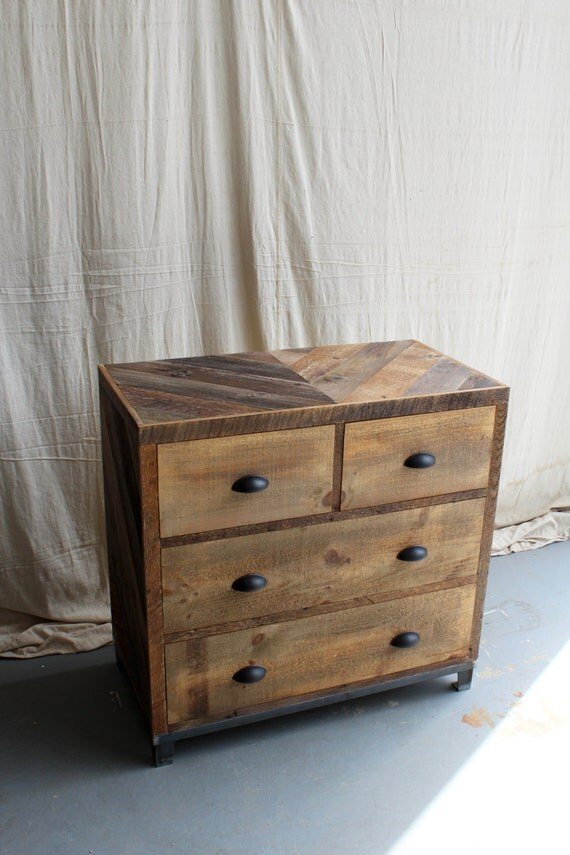 4 Drawer Dresser with Steel Base Reclaimed Barn Pallet Wood Bedroom Furniture - - Chevron Pattern