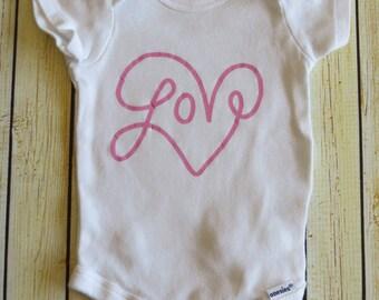 Love Word Art Baby Bodysuit - Perfect for Valentine's