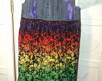 Boutique Style Knot Dress- size 6/7 RAINBOW BUTTERFLIES Floral and Recycled Blue Jeans
