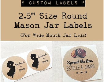 """2.5"""" Custom Stickers for Mason Jars, Wedding Favors, Bridal Shower or Party Favor Seals. Product Labels. Kraft Round Labels. Custom Labels"""