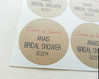 Love Is Sweet Bridal Shower Favor Seals. Handmade Custom Jar Labels. Wedding Shower Labels. Once Upon Supplies