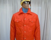"Vintage 70's Men's Orange Nylon Ski Winter Jacket Western Style Medium Chest - 42"""