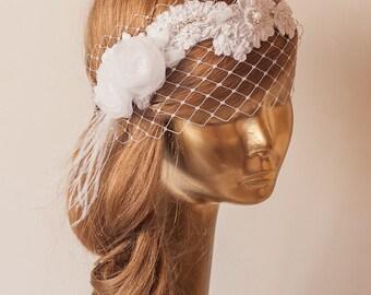 White Lace BIRDCAGE VEIL, Vintage Style Birdcage Veil. Bridal FASCINATOR.