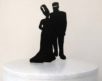 Wedding Cake Topper - Halloween Wedding Cake Topper, Frankenstein Silhouette Wedding Cake Topper