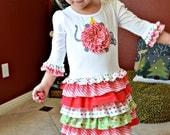 Christmas ruffles toddler girls t-shirt dress pdf pattern mouse applique RUFFLE RUMBA