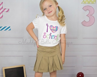 I Love School Appliqued Shirt - Embroidered, Back to School, I Love School, Girls, Boys, Back to School Embroidered Shirt