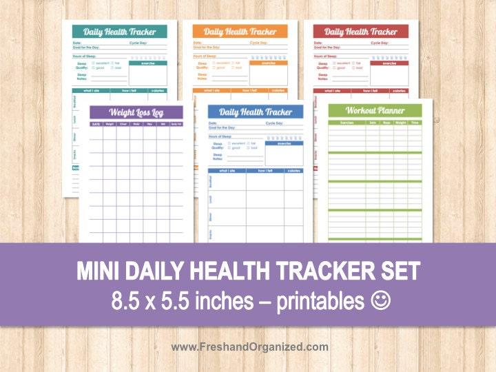 mini daily health tracker set 8 5 x 5 5 size organizing