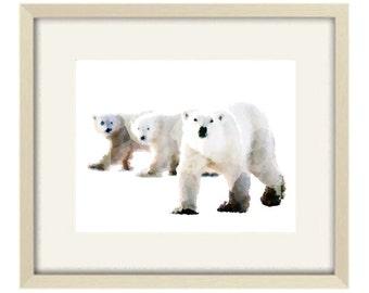 Black and White Nursery art, Polar bear Print, Baby Animal Print, Kids Wall Art Poster, Nursery Animal Print, Bear Nursery Art Decor
