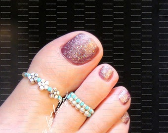 Big Toe Ring Combo - Silver Violets - Turquoise - Stretch Bead Toe Rings