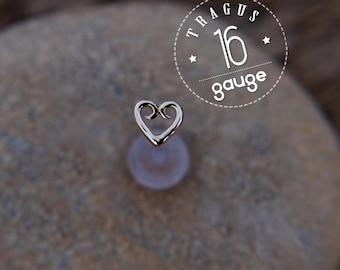 TRAGUS HEART 5mm 16 gauge / BioFlex/ Sterling silver/ tragus earring/labret stud/ heart tragus/ cartilage earring/ helix