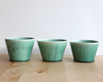 Turquoise small bowls Three 3 bowl set Home decor Candle holders Turquoise gorgeous glaze - Ready made
