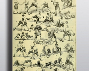 Antique Wrestling Poster Vintage Sports Print Mancave Man Print Gift for Him Vintage Physical Exercise Wall Art Exercise Chart