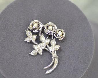 Sterling Silver Faux Pearl  Flower Bouquet Brooch