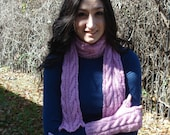 Bright Pink Cabled Scarf and Fingerless Gloves Set