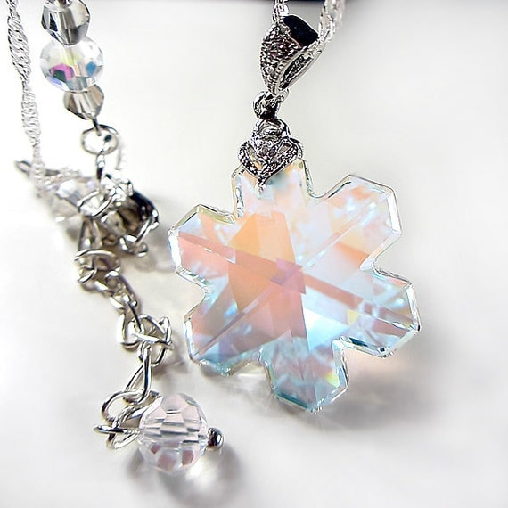 Swarovski Clear Aurora Borealis Snowflake Crystal Necklace RARE Brilliant Swarovski Snowflake Crystal Gift for her Evening Jewelry Christmas