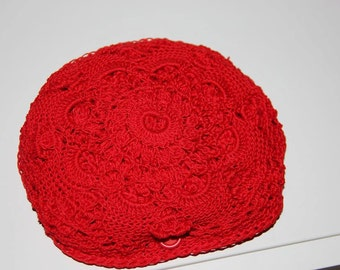 Crochet reusable shopping bag, folding pouch. Red lace and net. Handmade. Eco-friendly.