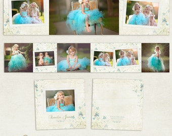 3x3 Accordion Album Template for Photographers - Bluebell - ID200, Instant Download