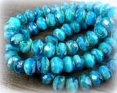 6x8mm Rondelle, Czech Glass Beads - Turquoise & Capri Blue Two Tone (0705) - 12 pcs.