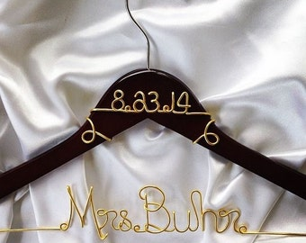 Personalized Custom Wire Wedding Hanger and date, Bridal Hanger with Date, Wedding dress hanger, Brides Hanger, Name Hanger