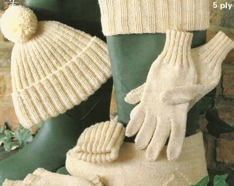 Men's Fingerless Mitts, Hat, Gloves,Stockings Knitting Pattern - PDF [DOWNLOAD]