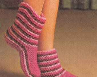 Ladies Slippers - PDF Knitting Pattern