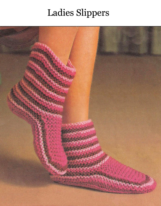 Knitting Designs For Ladies : Ladies slippers pdf knitting pattern