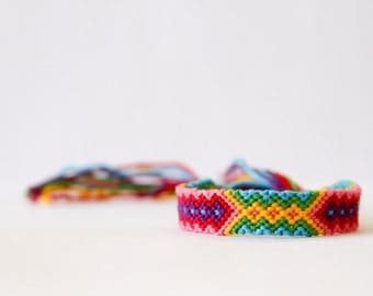 Friendship Bracelet Geometric Tribal Bracelet Red Yellow Green Pink Purple and Turquoise / Stocking Stuffer