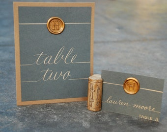 Table Numbers - Wedding Calligraphy - Hand Written - Chalkboard Look with Custom Wax Seal - Coordinating Escort and Place Cards Available