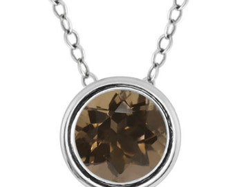 1 Ct Genuine Smokey Quartz Bezel Pendant .925 Sterling Silver Rhodium Finish