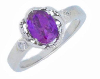 1.5 Ct Amethyst & Diamond Oval Ring .925 Sterling Silver Rhodium Finish