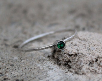 May Birthstone Stacking Ring in Sterling Silver, Emerald Ring
