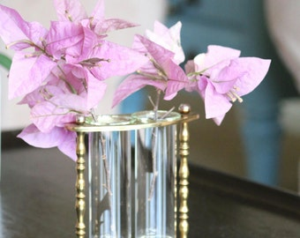 For the Buds - Vintage Brass and Glass Vase