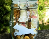 Custom Glass Dog Treat Jar w/ Locking Lid - Pet Name & Dog Breed Decal - 60+ Dog Breeds