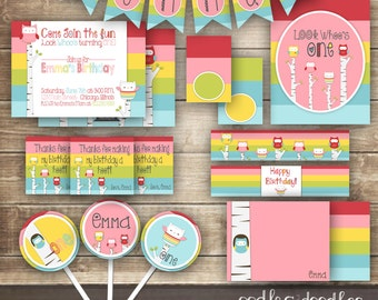 Rainbow Birthday Party, Rainbow Party, Rainbow Decorations, Rainbow Party Printables, Owl Birthday, Printable Party Package