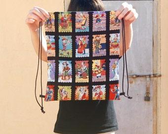 Mexican cartas drawstring backpack