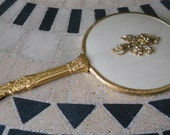 Vintage 1960s Gold Rose Hand Mirror for the Boudoir, Costumes, Disney, Belle, Beauty and the Beast