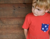 Boys' RED Tee/Tank w/ Blue and White Stars Pocket // Pocket Tee/Pocket Tank // July 4th/USA/Fourth of July