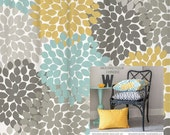 Shower Curtain Yellow, Blue, Gray Floral Standard and Long Lengths 70, 74, 78, 84, 96 in. Let's make one in your colors!