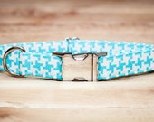 Houndstooth Dog Collar, Turquoise and White Hounds Tooth Dog Collar, Blue, Female Dog Collar, Male Dog Collar With Metal Buckle