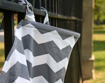 Nursing Cover (Breastfeeding Cover) Gray and White Chevron.