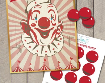 DIY Printable Pin the Nose on the Clown Vintage Style Circus Carnival Birthday Party Game - by Carta Couture