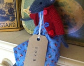 """Hand knitted Mouse. """"Cora"""" Reminiscent of Bagpuss Mice."""