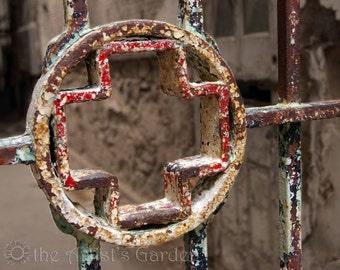 Old Rusted Prison Gate, Eastern State Penitentiary, Philadelphia, Horror Decor, 8x10 Macro Photograph