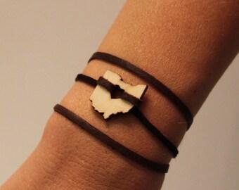 Ohio Leather Wrap Bracelet