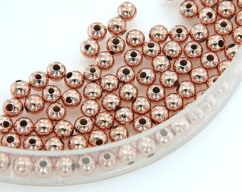 3mm 4mm 5mm 6mm Rose Gold Round Beads, Rose Gold Plated Over Copper, Pkg of 20 PCS, B0LU.RG04.P20