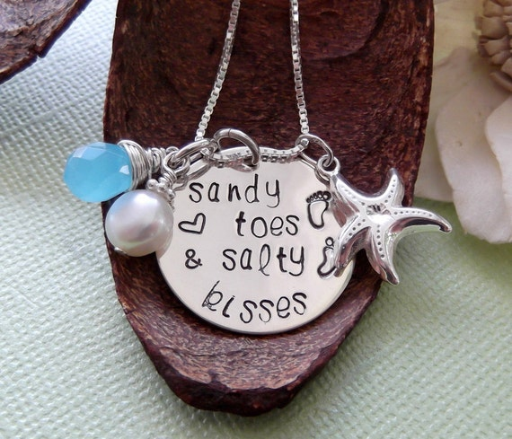 Sandy Toes And Salty Kisses Necklace- Beach Girl Necklace- Beach Themed Necklace- Hand Stamped Beach Necklace- Beach Jewelry