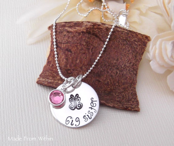 Big Sister Necklace- Big Sister Jewelry- Child Butterfly Necklace- New Big Sister- Big Sister Birthstone Necklace