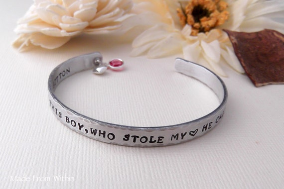 Hand Stamped Cuff Bracelet- There Is This Boy Who Stole My Heart- Mommy Bracelet- Cuff Bracelet